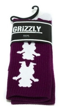 Meias Grizzly Repeat Burgundy
