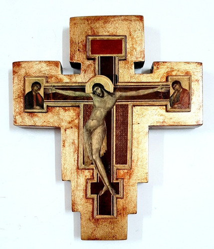 Imagen 1 de 4 de Crucifijo Del Cimabue - Estilo Florentino - Dorado A La Hoja