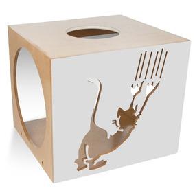 Nicho Quadrado Scratch Para Pet Gatos Cinza Claro 7050 Carlu