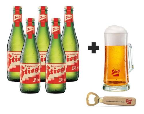 5 Pack De Cervezas Stiegl Goldbrau + Tarro + Promocional