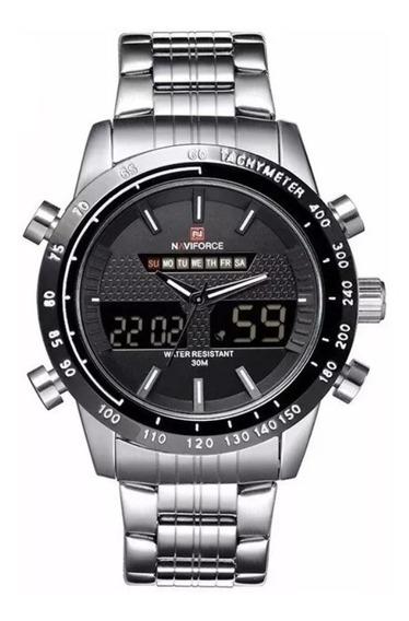 Relógio Masculino Naviforce 9024 Digital E Analógico Em Aço