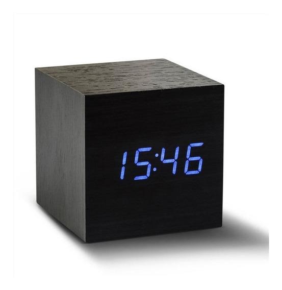 Reloj Led Despertador Cubo Termómetro Calendario 6 X 6 Cm