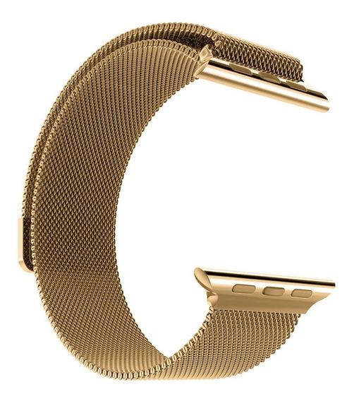 Pulseira Aço Milane Compatível Com Apple Watch 1 2 3 4 5 Iwo