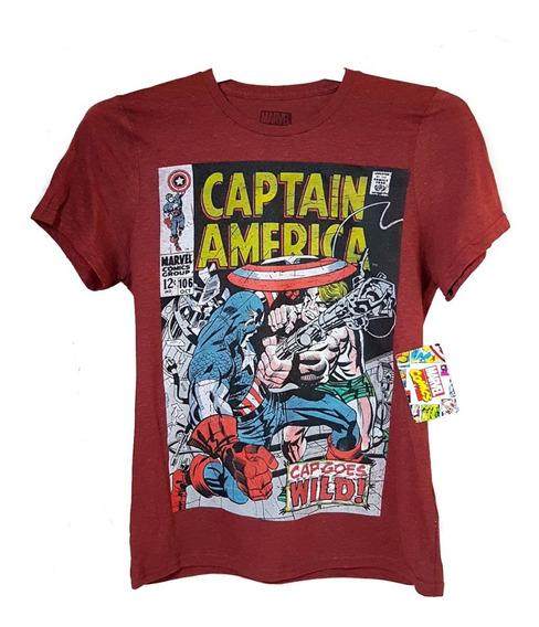 Playera Hombre Marvel Comics Capitan America 100% Original