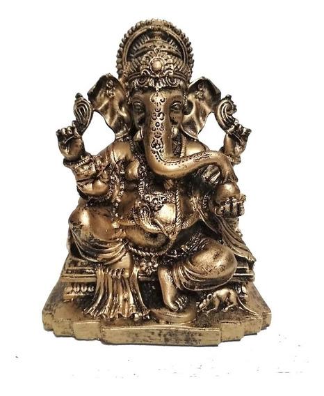 Estátua Ganesha Com Base Decoração Em Resina Enfeite
