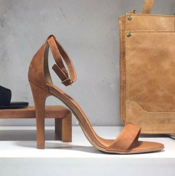 Sandália Salto Fino Caramelo