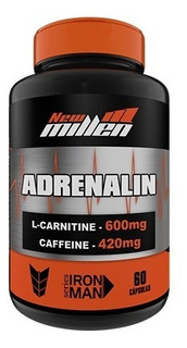 Adrenalin 60 Caps New Millen - 420mg Cafeina + L-carnitina