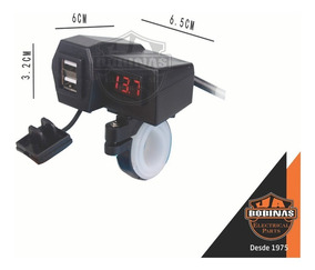 Carregador Celular Gps Moto Usb C/ Voltímetro Led Vermelho