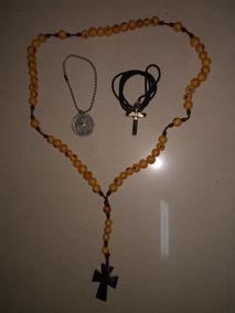 Lindo Terço Sementes Medalha Católica Prata Cordão Divino