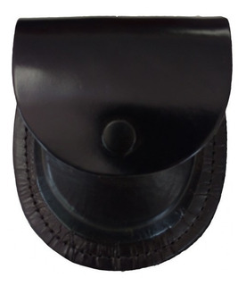 Porta Algemas Couro - C/ Passador P/ Cinto - Fecho Em Metal