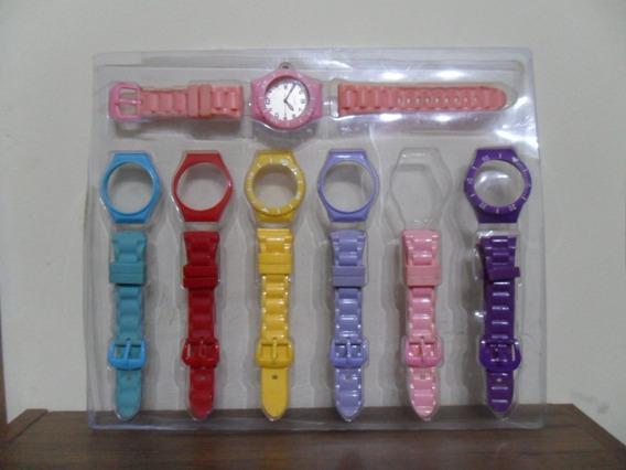 Kit Versátil Relógio Troca Pulseiras Modelos E Cores Usado