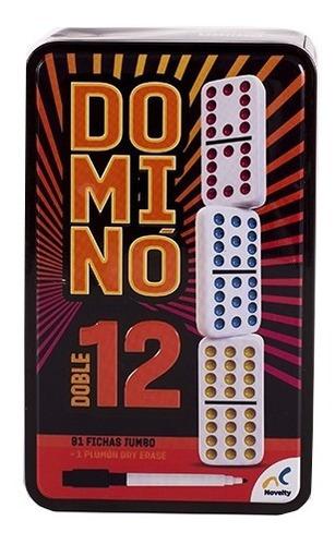 Domino Doble 12 Novelty Con 91 Fichas Caja Metálica Cubano