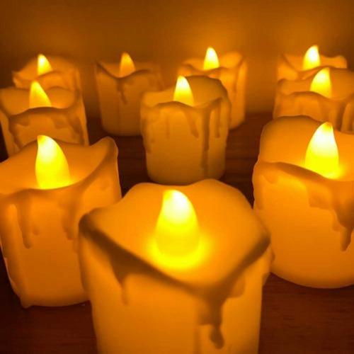 Vela Navideña Led Llama Titilante Caja X 24