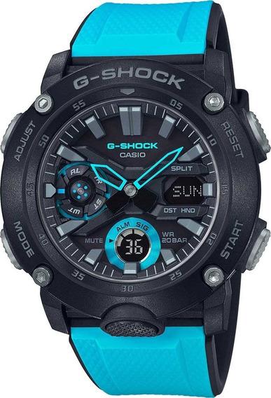Relógio Casio G-shock Masculino Anadigi Azul Ga-2000-1a2dr