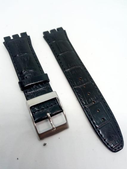 Pulseira Swatch Preto Luxo Irony Couro Tipo Croco 19mm Leia