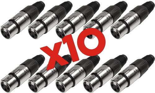 Imagen 1 de 10 de Pack 10 Fichas Xlr Canon Hembra Para Cable 3 Pines La Roca