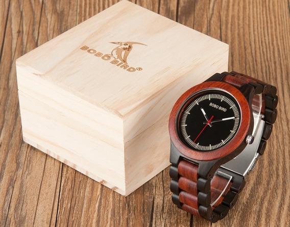 Relógio Artesanal Madeira Bambu Bobo Bird Original Mod B-o01