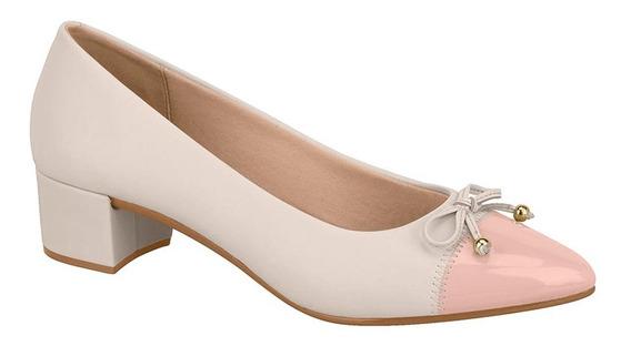 Sapato Feminino Beira Rio Scarpin Creme & Preto 4222.102