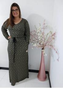 Vestido Longo Listrado Moda Feminina Evangelica Plus Size