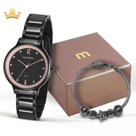 Kit Relógio Mondaine Feminino 53626lpmvpe1k1 Com Nf