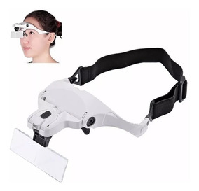 Lupa De Cabeça Oculos Profissional 5 Lentes Aumento Luz Led