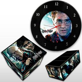 Harry Potter Kit Relógio Parede + Caixa Box + Porta Controle