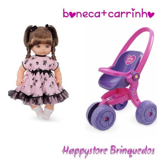 Boneca Anjos Baby Castanho + Carrinho Usual Brinquedos.