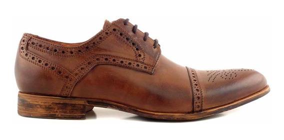 Zapato Hombre Cuero Briganti Punta Partida Picado- Hcac00916