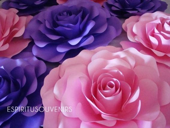 Flores De Papel Gigantes - Kit Rosas