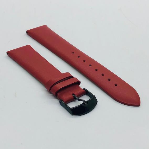 Pulseira Relógio Couro P.u. Benyar 22 Mm Vermelho