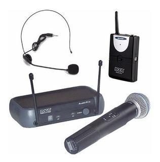 Microfono Doble Inalambrico Vhf Mano Vincha Moon