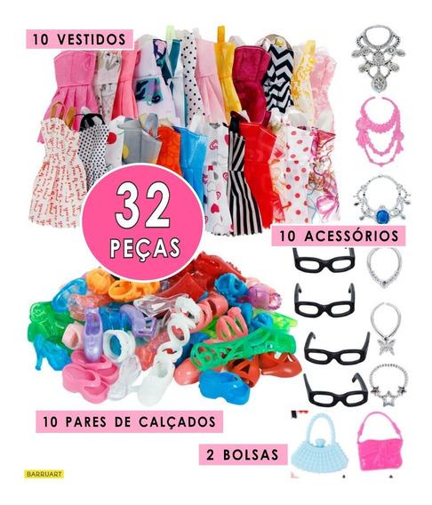 Roupa Boneca Barbie Sapato Acessórios Roupinha Kit 32 Peças