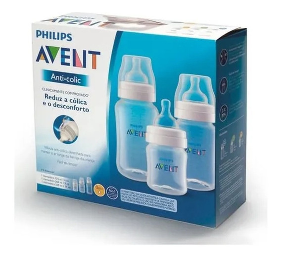 Kit Mamadeiras Anti Cólica 125ml 260ml E 330ml Philips Avent