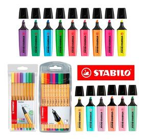 Kit Marca Texto E Caneta Stabilo Cores Neon Pastel