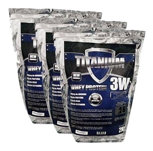 Kit 3 Pacotes Whey Protein 3w Titanium - 6 Kilos - Baunilha
