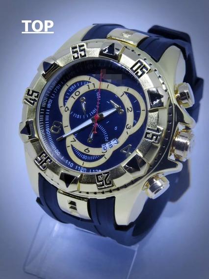 Relógio Top Subaqua Dourado Gold Aço Masculino+ Caixa Oferta