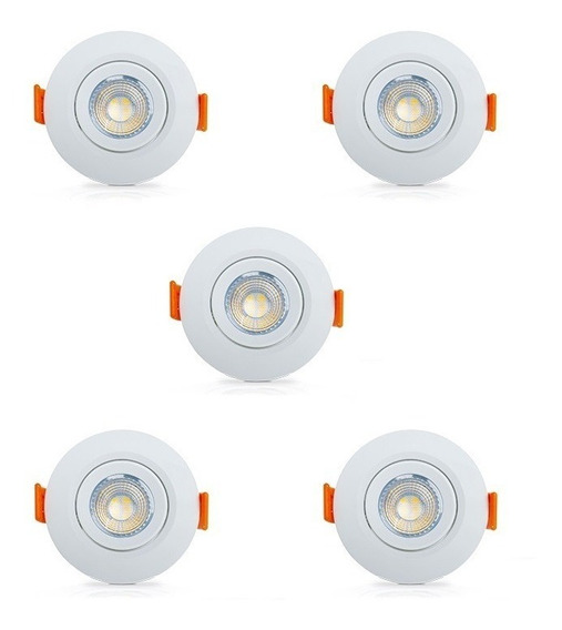 Kit 5 Mini Spots Redondo Led 3w Branco Quente 3000k Ourolux