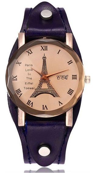 Relógio Bracelete Feminino Couro Legítimo Paris Torre Eiffel