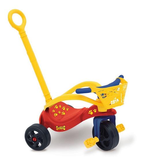 Triciclo Infantil Perrito C/ Manija Canasto Proteccion