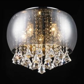 Plafon Cristal Vidro Cromado 40cm 6 Lampadas +luz