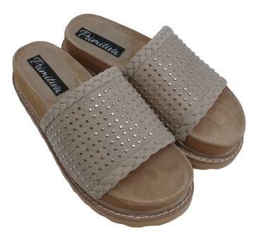 Zueco Sandalia Tacha Cuero Base Plataforma Zapato Mujer 600d