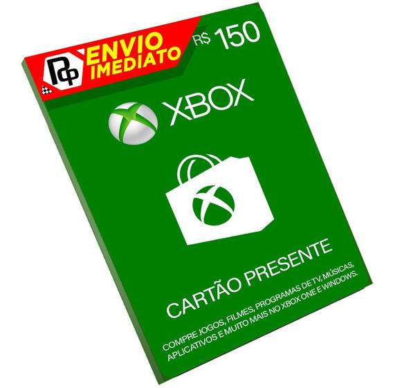 Cartão Xbox R$150 Reais Microsoft Cartão Presente Xbox Live