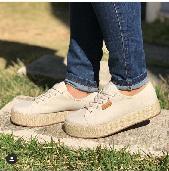 Sapato Tênis Feminino Sua Cia Linho Cru Flatform Casual 8109