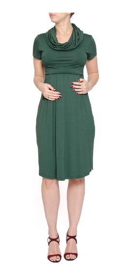 Vestido Gestante Gola Drapeada Verde
