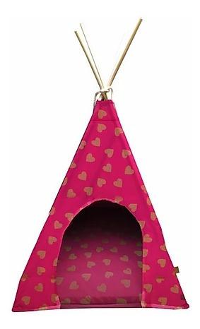 Imagem 1 de 5 de Tenda Com Almofada Para Pet Love Cor Rosa 60x60 Fabrica Pet