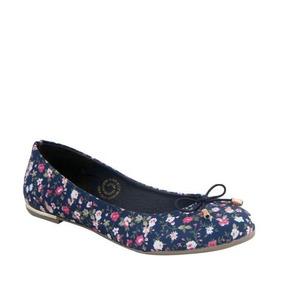 Balerinas Casuales Dama Pink 2420 Azul Marino Con Flores