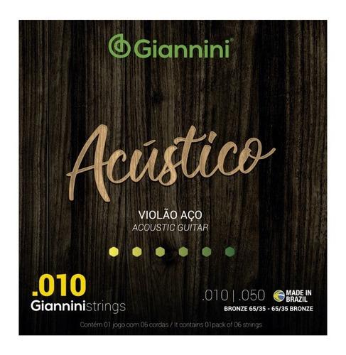 Encordoamento Giannini Violão Aço 010 65/35 Acustico Full