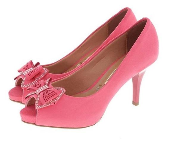 Sapato Feminino Peep Toe Vizzano Salto Médio Laço Coral