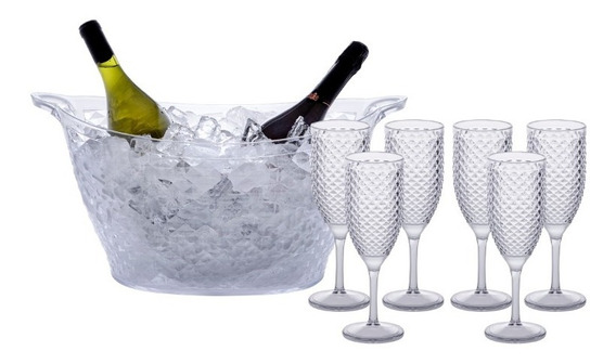 Champanheira 18 Litros + 6 Taças P/ Champagne 350ml
