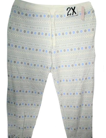 Pantalon Pijama Crema Con Copos Nieve Talla 2x (38/49) Simpl